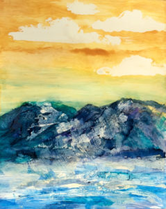 The Highlands, new Alcohol Ink & Wax Resist painting